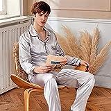 Hombres Seda Pijamas Set de manga larga Pareja Satén PJ Conjuntos Button-Down Pijama Sleepwear Loungewear Pantalones conjuntos de dos piezas (Color : 9941 man grey, Size : Medium)