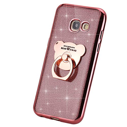 MoreChioce Compatible with Galaxy A5 2017 Case,Galaxy A5 2017 Silicone Case Glitter Sparkle TPU Rubber Bumper Protective Crystal Case Shell Skin with Ring Hold,Rose Gold Bear