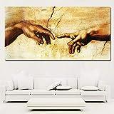 Ziruixiong Cuadro En Lienzo ¡Creación De Adán!¡Mano De Dios!Imágenes De Pared De Religión Clásica Para Sala De Estar Famosos Láminas Artísticas Posters-60X120Cm_Lienzos