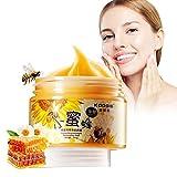 Scrub viso, aschera viso idratante al miele - maschera facciale quotidiana per la cura della pelle, miele grezzo biologico lenitivo e nutriente, esfoliante, calma e bilanciamento pelle, 140ml