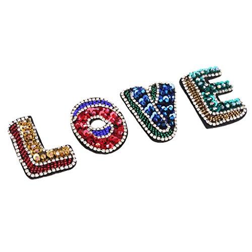 Bonarty 4 Unids/Set Parches de Letras de Lentejuelas con Cuentas DIY Apliques de Cristal de Amor con Cuentas Insignia para Coser Ropa Decorada Accesorios de