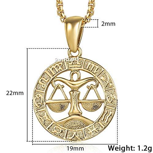 DDDDMMMY Halskette,Waage 12 Sternbilder Der Schmuck Für Männer Und Frauen 12 Horoskop Sternzeichen Gold Anhänger Mit Halskette