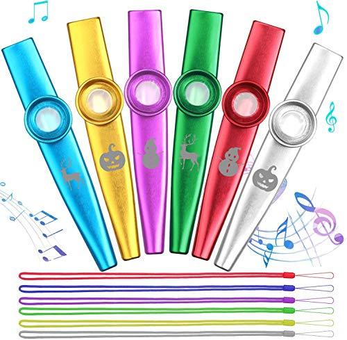 Anpro 6 Stück Kazoo Kazoo Set aus Metall mit Kordel, 6 Kazoo Membran Metallkazoo Musik in 6 Farben für Kinder Musikliebhaber