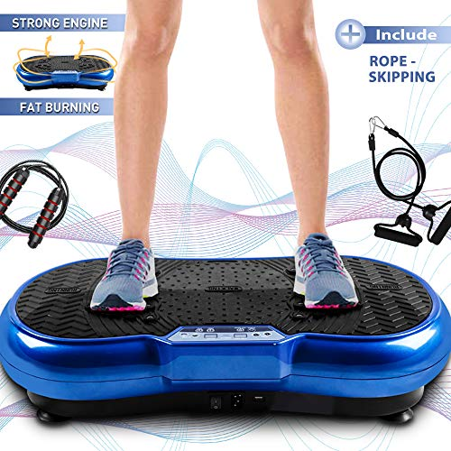 Bigzzia Vibration Platform with Rope Skipping, Whole Body Workout Vibration Fitness Platform Massage Machine for Home Training and Shaping, 99 Levels (Blue)