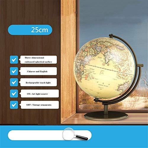 HFJKD 3D-Weltkugel Ideal für Kinder, Weltkugel mit Ständer - Pädagogisches Lernen Rotierender Desktop-Globus, detaillierte 2-in-1-Weltkugelkarte