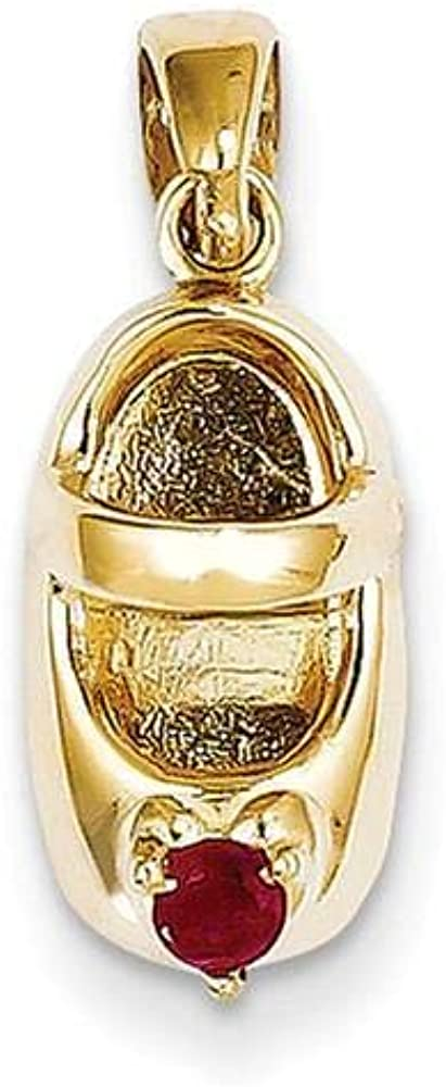 14k Yellow Gold Garnet Seattle Mall Red New York Mall 3D Charm Baby Shoe
