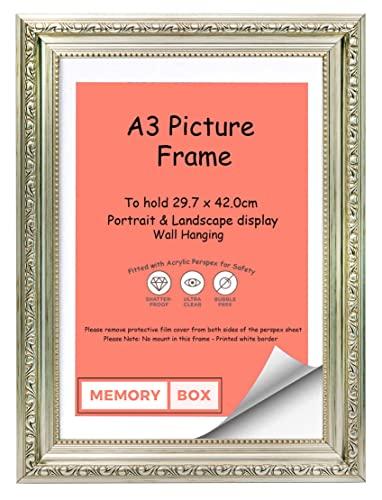 Ornato Shabby Chic Cornice per immagini / foto / poster con foglio in plexiglass - Modanatura 33 mm in larghezza e 17 mm in profondità - Argento - A3