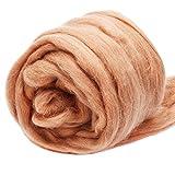 Jupean 3.53oz Wool Roving Yarn, Fiber Roving Wool Top, Wool Felting Supplies, 100% Pure Wool, Chunky Yarn, Spinning Wool Roving for Needle Felting Wet Felting DIY Hand Spinning