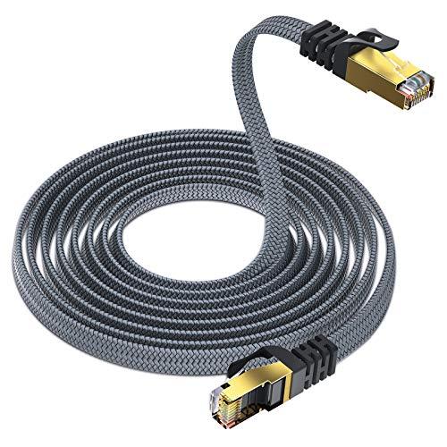 Yurnero - Cable de red plano Cat 8 (5 m, 40 Gbits/2000 MHz, Gigabit Ethernet, RJ45, compatible con Cat 6/Cat 7, adecuado para el hogar inteligente/router/módems/switches)
