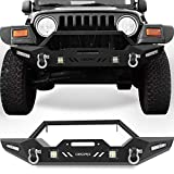 OEDRO Front Bumper Compatible for 87-06 Jeep Wrangler TJ & YJ & LJ Rock Crawler Bumper with Winch Plate Mounting & 4X LED Lights & 2X D-Rings Off Road