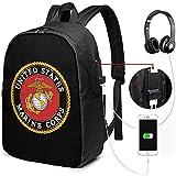 Laptop Tasche Rucksack Die Zukunft Genannt Marine Corps Laptop Rucksack Mit USB Ladeanschluss,Für Unisex Schultasche,17 Zoll