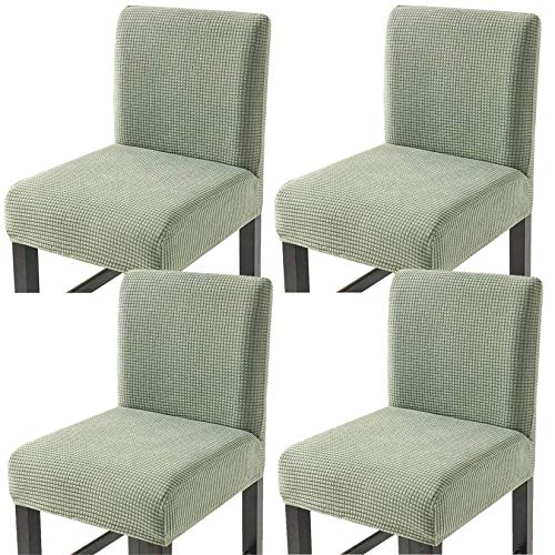Facai - Funda de taburete de bar con respaldo, juego de 4 elásticos, funda para silla de comedor, taburetes altos, extensible, funda para silla de pub, color verde