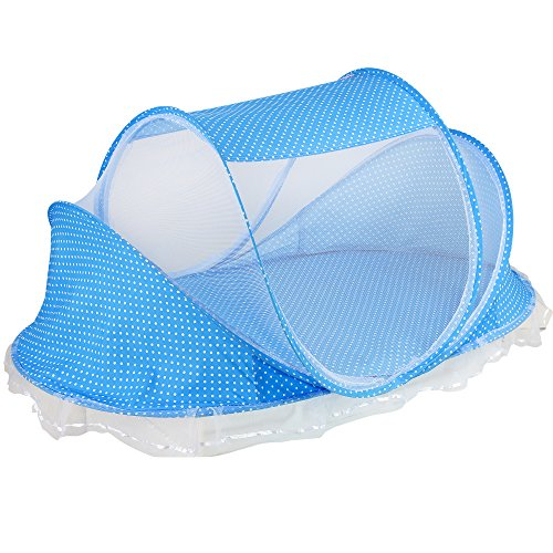N.C. Products Baby Travel Bed, Portable Travel Beach Tent, Blue Pop-Up Beach Tent Protect from Sun, Mosquitos & Bugs