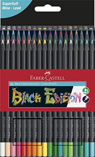 Faber-Castell Black Edition 116436 Matite Colorate, Multicolore, 36 pezzi