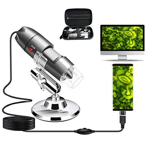 Cainda USB-Mikroskop-Kamera, 40 x bis 1000 x, digitales Mikroskop mit Metallständer und Tragetasche, kompatibel mit Android Windows 7, 8, 10, Linux, Mac, tragbare Mikroskop-Kamera für Kinder