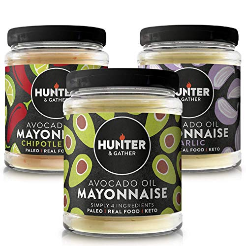 Hunter & Gather Paleo Mayonesa de Aguacate Variedad. 1 x Clásico 1 x Ajo 1 x Chipotle & Lime 3 x 175g