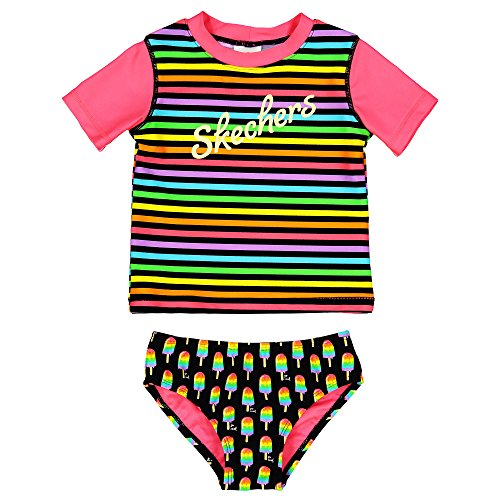 Skechers Girls' Little Swim Suit Set with Short Sleeve Rashguard, ice Cream Black/Multi, 5