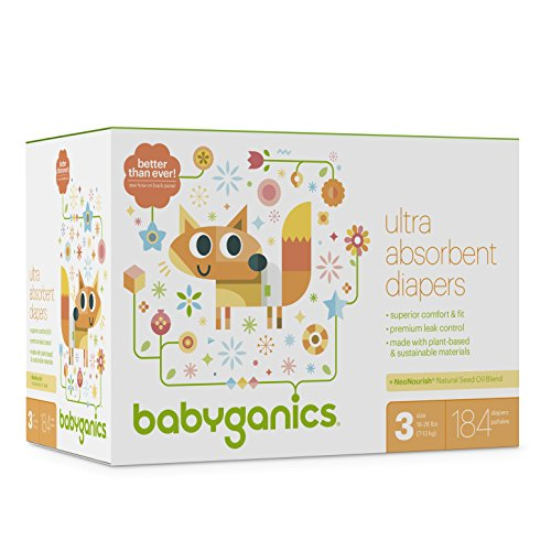 Diapers, Size 3, 184 ct, Babyganics Ultra Absorbant Diapers, Packaging May Vary