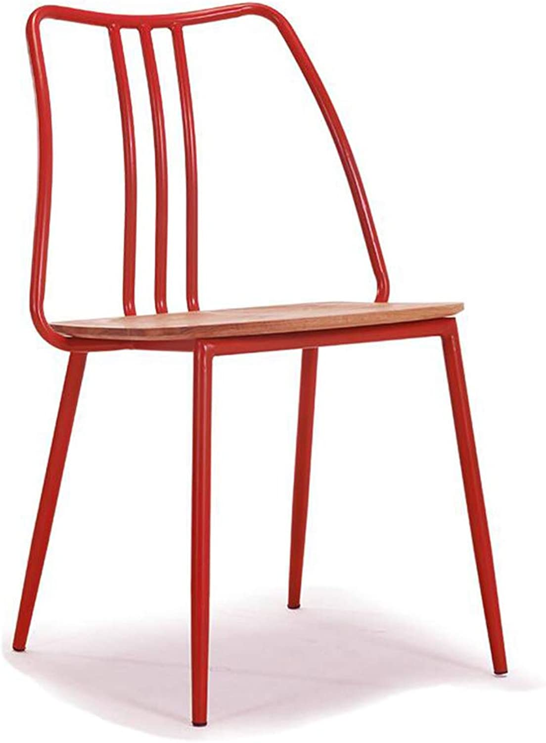 Chair Small Seat Simple Creative Chair Stool Wrought Iron Home Living Room Retro Lounge Chair Dining Chair (color   RED)