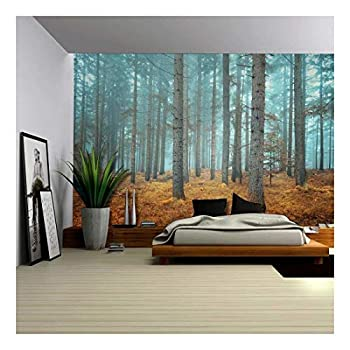 Wall26 - Beautiful Dreamlike Forest in Autumn Time - Wall Mural Removable Sticker Home Decor - 66x96 inches