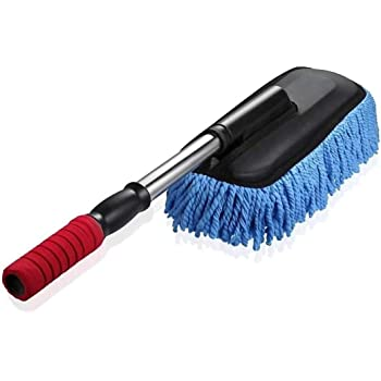 TONY STARK Car Cleaning Microfiber Mop Duster with Grip Expandable Handle_Blue Colour, (Blue)