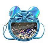 RARITYUS Kids Clear Hologram Crossbody Purse Round Bowknot Shoulder Bag Satchel with Cute Ears for Boys Girls Toddlers