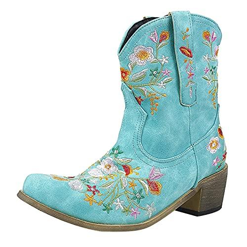 Xiangdanful Bestickte Stiefel Damen Bestickte Hohe Stiefel Damen Spitz Dicke Fersenstiefel Künstliche Pu Cowboystiefel Stiefeletten Freizeitschuhe Schlupfstiefel Sockenstiefel