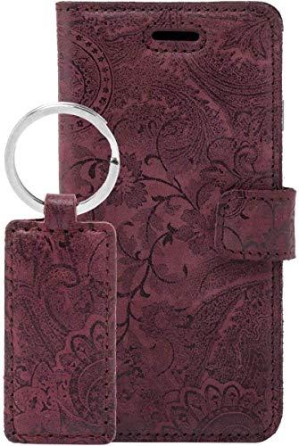 SURAZO Handy Hülle Für Samsung Galaxy A51 Book Classic Ornament Burg& - Glattleder Premium - Vintage Wallet Hülle