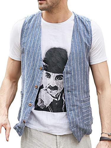 Runcati Mens Linen Cotton Suit Button Up Vest Casual Striped Basic Lightweight Slim Fit Pockets Waistcoat Sky Blue
