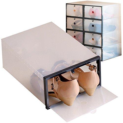 シューズボックス8箱入 ブラック 女性サイズ フレーム付き 透明クリアーケース 靴箱 収納 タテ29cm×ヨコ21cm×高さ12cm COMO STOCK