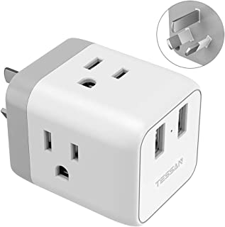 Australia China Power Plug Adapter, TESSAN 5 in 1 New Zealand Travel Power Adapter with 3 US Outlets and 2 USB Charging Ports, US to Australia New Zealand Fiji Argentina Plug Adapter (Type I)