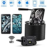 PiAEK Endoscope WiFi 2.0MP HD Camera endoscopique IP67 Etanche 5.5MM Camera Inspection Endoscope Semi Rigide Câble Microscope Endoscope Android Iphone Compatible avec Smartphone Tablette-5M