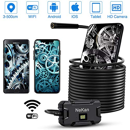 PiAEK WiFi Endoscopio 2.0MP Zoom HD Telecamere di Ispezione 5.5MM Sonda Telecamera Endoscopica IP67 Impermeabile 2600mAh...