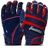 Franklin Sports Hi-Tack Premium Football Receiver Gloves - Navy/Red - Youth Medium