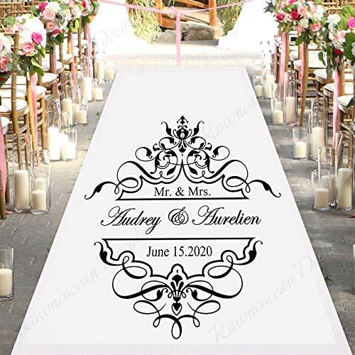 Nombre y fecha personalizados de la novia y el novio Patrón de pista de baile de boda Logo Etiqueta de la pared Vinilo Arte Calcomanía Salón de bodas Fiesta Dormitorio Decoración del hogar Mural