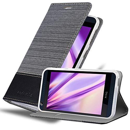 Cadorabo Hülle für HTC Desire 626G - Hülle in GRAU SCHWARZ – Handyhülle mit Standfunktion & Kartenfach im Stoff Design - Hülle Cover Schutzhülle Etui Tasche Book