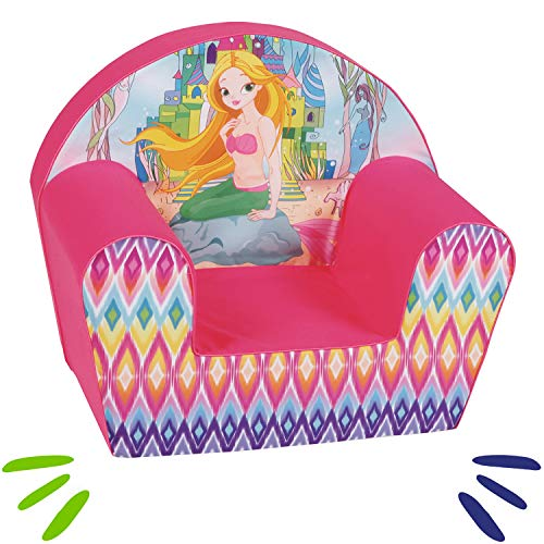 DELSIT Kindersessel Babysessel Kinder Sessel Baby Sitz Kindermöbel für Mädchen MEERJUNGFRAU Rosa