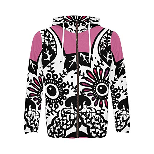 InterestPrint Full Zip Light Weight Hoodie Sweatshirt with Pocket for Men Frenchie Cute Dog Day of The Dead L