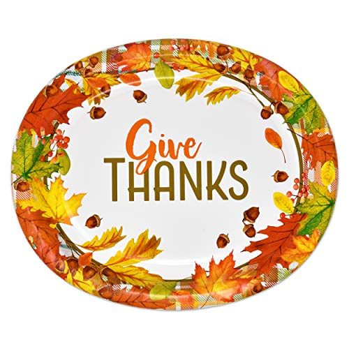 50 Count Thanksgiving Oval Plates 10' X 12' Paper Disposable Dinner Autumn Fall Harvest Give Thanks Platters Party Set Goods Holiday Decorations Dinnerware Wedding Event Supplies by Gift Boutique