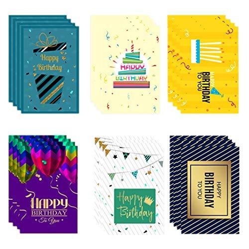 誕生日カード 24枚セット メッセージカード ピカピカ バースデーカード ギフトカード ケーキカード お祝い 子供 友達へのプレゼント 封筒付き