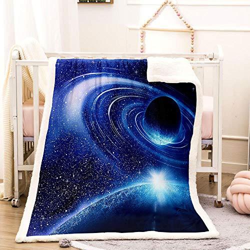 BEDSERG Tirar Las Mantas Gruesas para Adultos niños Galaxia Planeta Azul Manta Polar Super Suave Colcha Sherpa Manta para la Cama y sofá 150x200cm