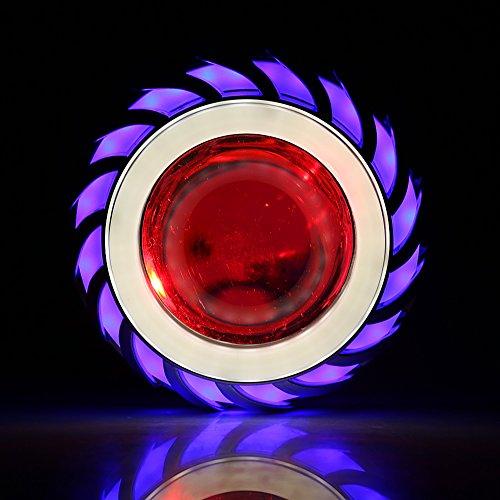 Keenso - Proiettore a LED per moto, abbaglianti/anabbaglianti, doppio: angel e devil eyes, faro tipo cyclope