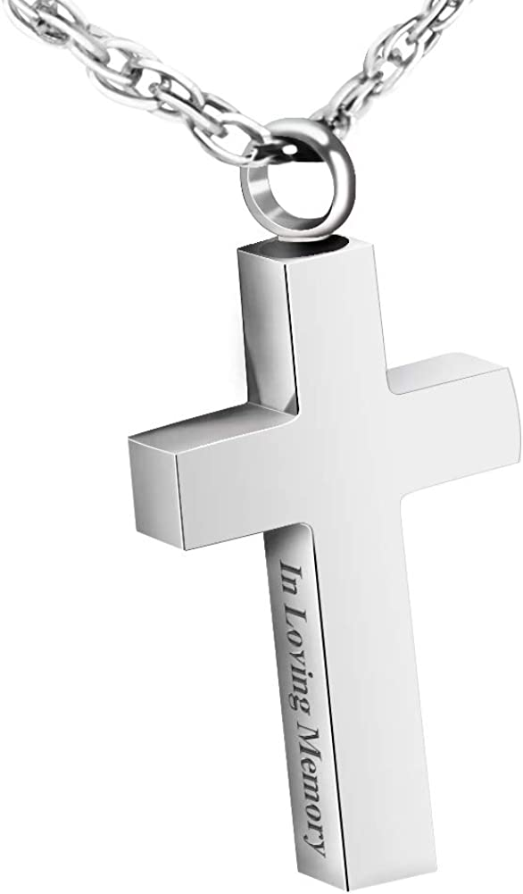 XIUDA Jewelry Cross Urn Necklace Pendant Memorial Ash Jewelry for mom & dad
