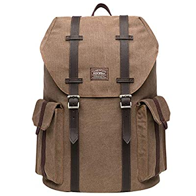 KAUKKO Multipurpose Canvas Backpack Daypack Hiking Travel Shoulder Bag Backpacks (48-2-KHAKI)