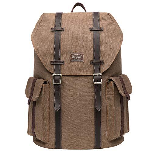 KAUKKO Laptop Rucksack 14 Zoll für Damen Herren Outdoor Reiserucksack mit Grosse Kapazität 17.8 L Segeltuch Khaki