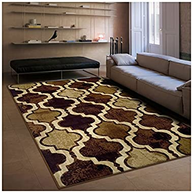 Superior Modern Viking Collection Area Rug, 10mm Pile Height with Jute Backing, Chic Textured Geometric Trellis Pattern, Anti-Static, Water-Repellent Rugs - Coffee, 8' x 10' Rug