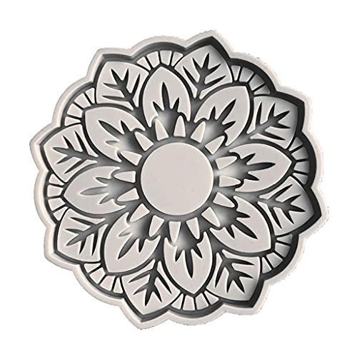 RG-FA Flor en forma de posavasos hueco epoxi resina molde taza taza de té cojín silicona