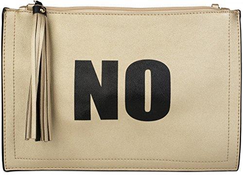 styleBREAKER Clutch mit 'YES' und 'NO' Print, Quasten Anhänger am Reißverschluss, Armschlaufe und Umhängegurt, Damen 02012078, Farbe:Gold/Schwarz
