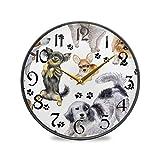 ART VVIES Reloj de Pared Redondo de 12 Pulgadas sin tictac silencioso operado con Pilas Oficina Cocina Dormitorio decoración del hogar-Animal Perro Pata impresión Negro