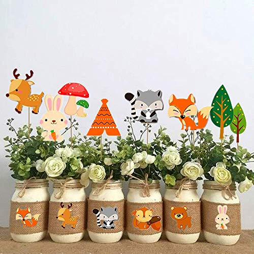 LaVenty 45 PCS Woodland Animals Centerpieces for Table Woodland Creature Party Supplies Forest Animal Centerpieces Woodland Animals Cupcake Picks for Woodland Baby Shower Birthday Party Decorations